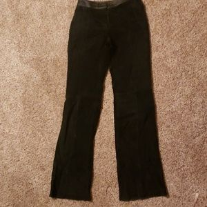 Black suede leather pants
